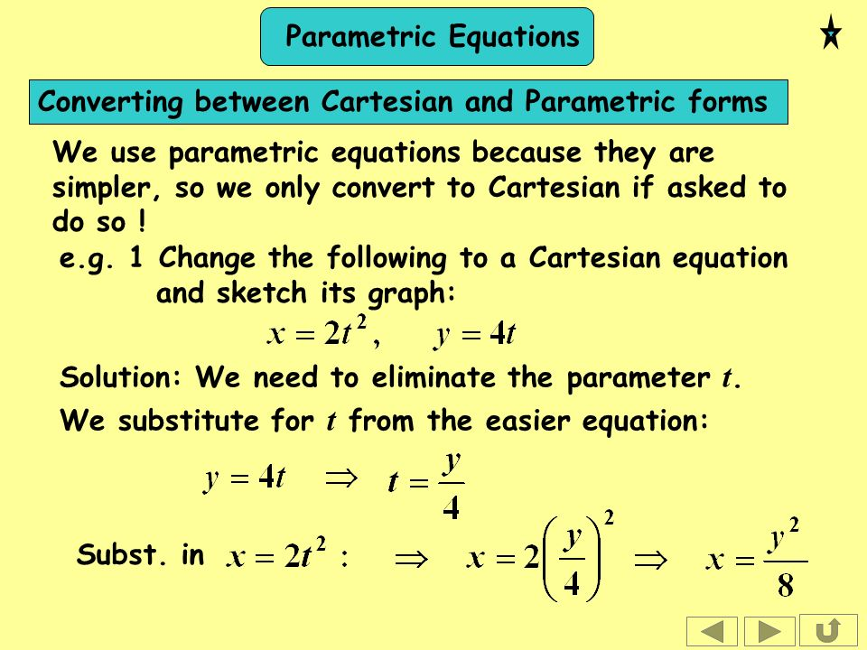 Parametric Equations Thursday, 21 January Parametric Equations The ...