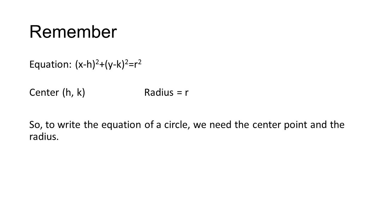 worksheet Writing Equations Of Circles writing equations of circles remember equation x h 2 y k r center radius so to write the a circle we need poi