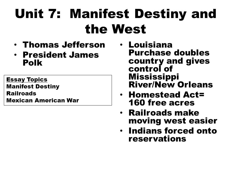 the manifest destiny essay Free manifest destiny papers, essays, and research papers.