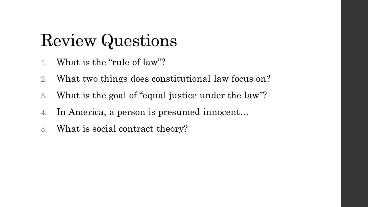 What Is The Rule Of Law . 2.  What Is Presumed