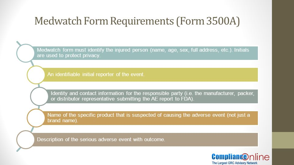 FDA Notifications and Medwatch Form Requirements Adverse Event ...