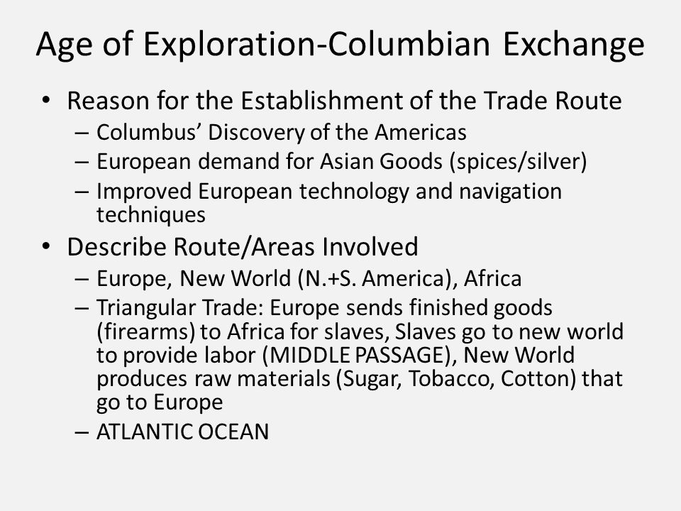 the columbian exchange essay The columbian exchange was an exchange of plants, food, diseases, peoples, cultures, and animals the most interactions were between the indians and the europeans they exchanged technologies and goods.