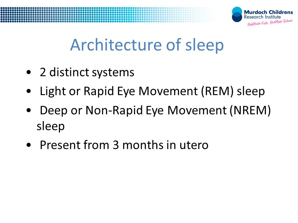 Architecture of sleep 2 distinct systems Light or Rapid Eye Movement (REM) sleep Deep or Non-Rapid Eye Movement (NREM) sleep Present from 3 months in utero