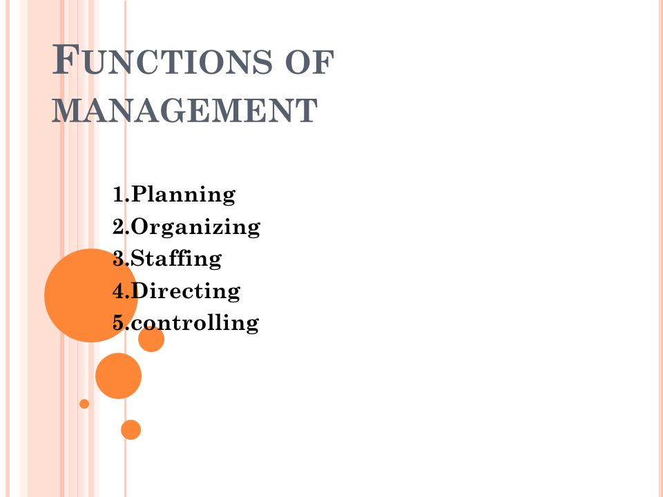 F UNCTIONS OF MANAGEMENT 1.Planning 2.Organizing 3.Staffing 4.Directing 5.controlling