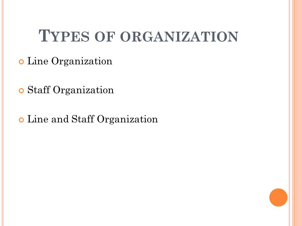 T YPES OF ORGANIZATION Line Organization Staff Organization Line and Staff Organization