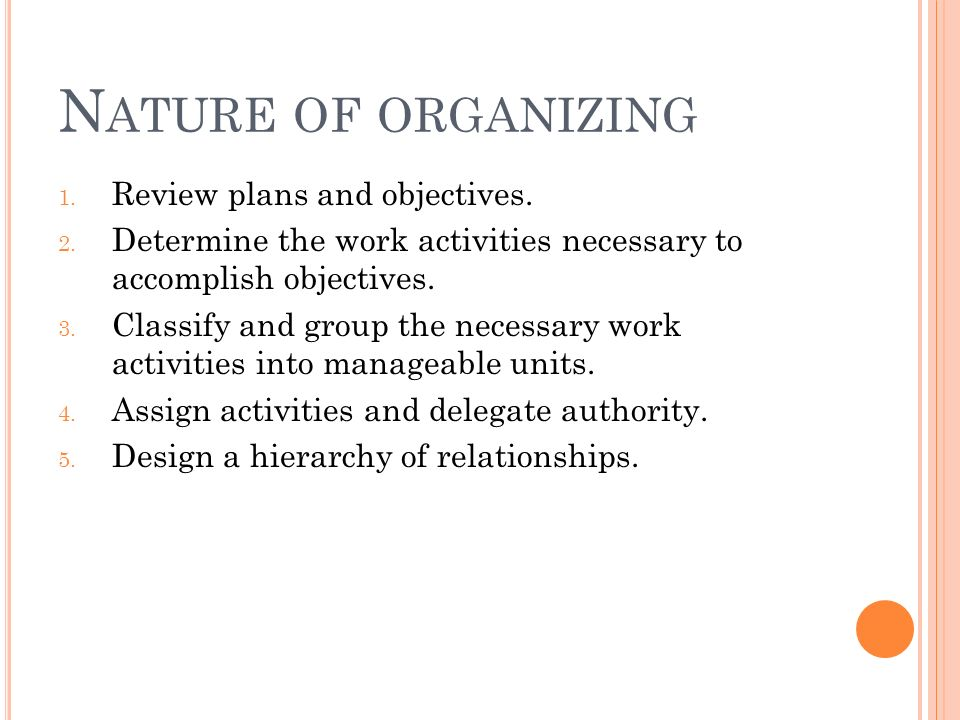 N ATURE OF ORGANIZING 1. Review plans and objectives.