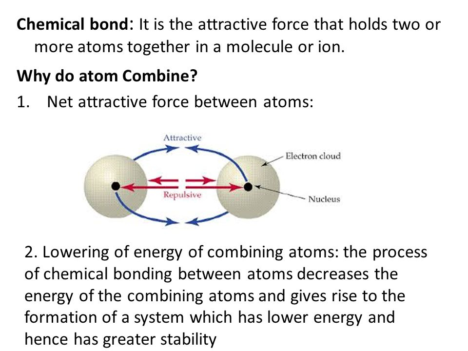 Chemical bond : It is the attractive force that holds two or more ...