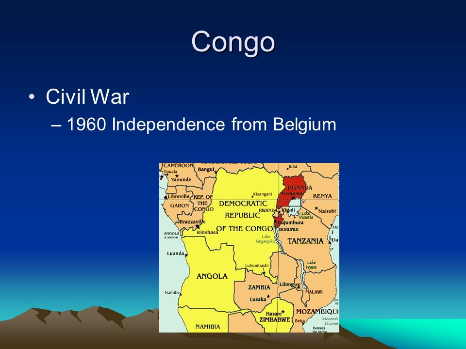 Congo Civil War –1960 Independence from Belgium
