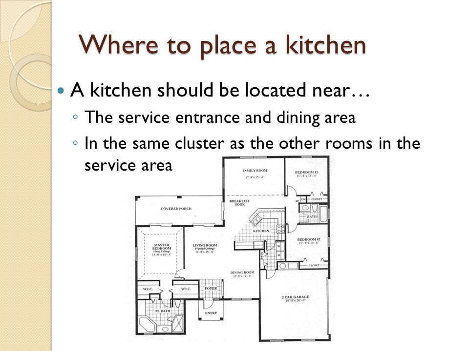 2 Where To Place A Kitchen Should Be Located Near O The Service Entrance And Dining Area In Same Cluster As Other Rooms