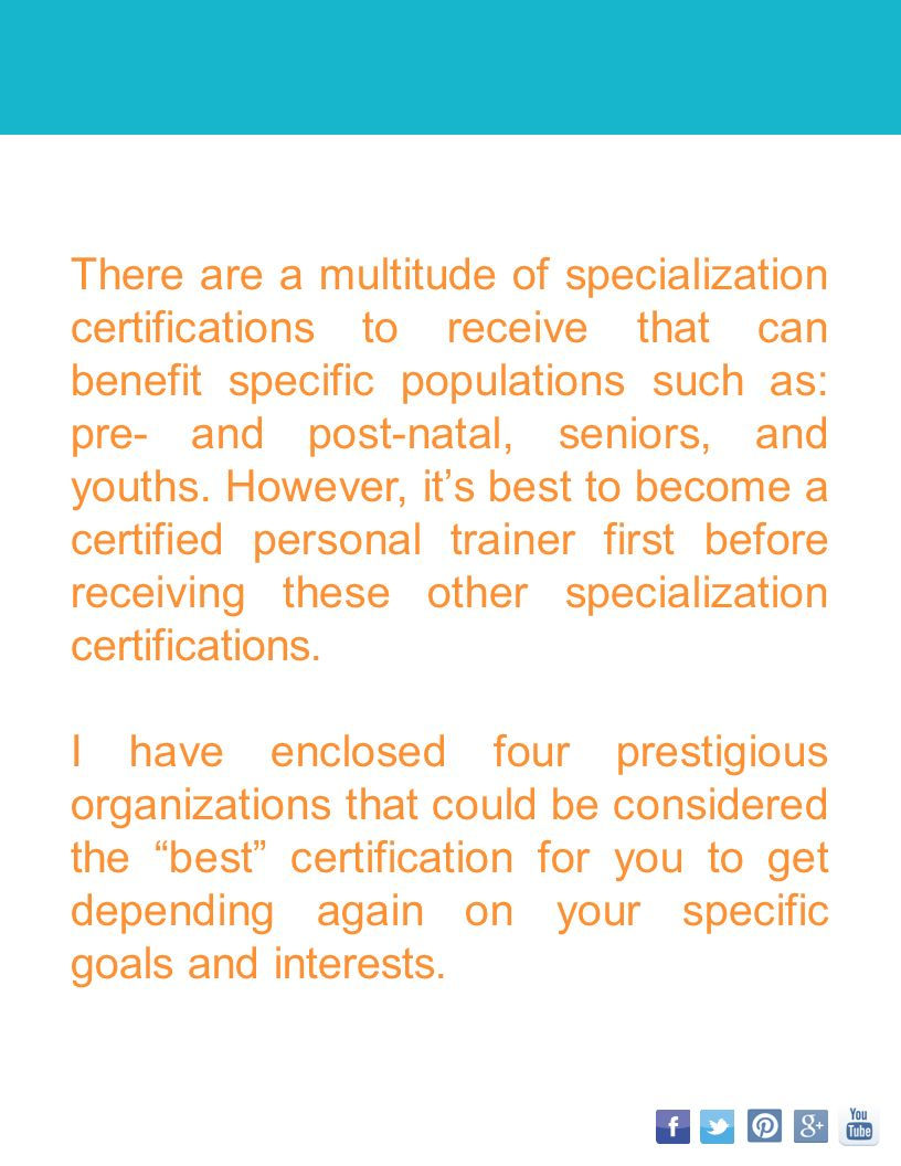 Fitness professional online for someone looking to become a there are a multitude of specialization certifications to receive that can benefit specific populations such as 1betcityfo Gallery