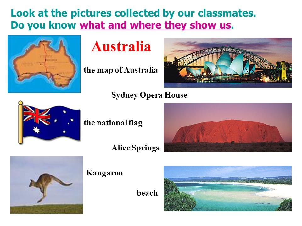 Look at the pictures collected by our classmates. Do you know what and where they show us.