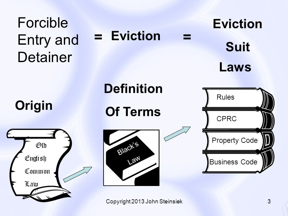 ... Blacku0027s Law Rules Property Code CPRC Business Code Old English Common  Law Origin Definition Of Terms Laws Forcible Entry And Detainer Eviction  Suit U003du003d