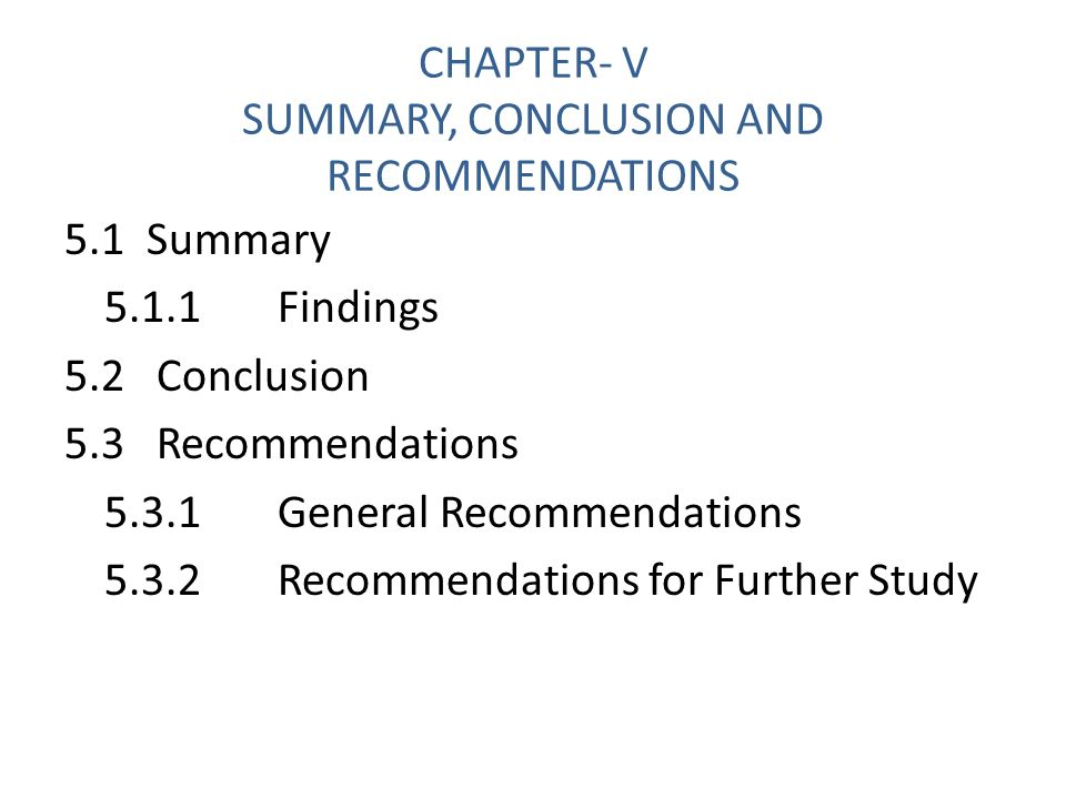 Recommendation In Thesis