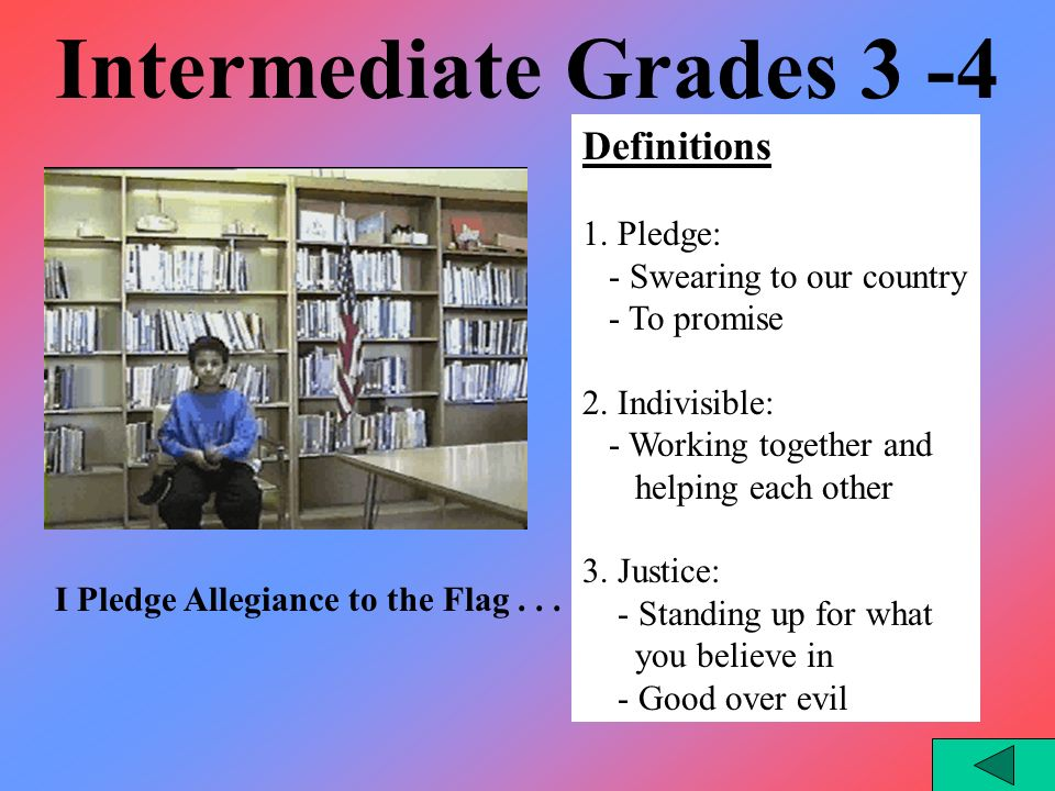 Intermediate Grades 3 - 4 I Pledge Allegiance to the Flag...