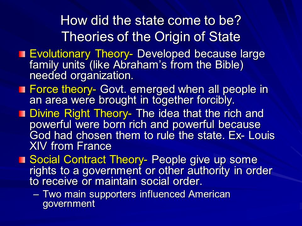 theory of origin of state