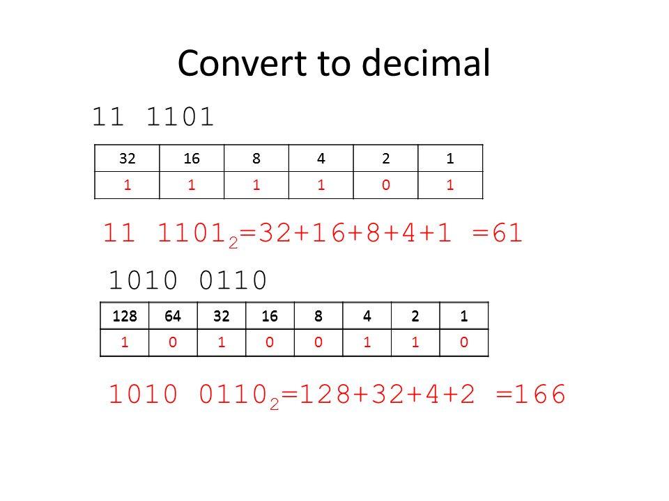 Convert to decimal 11 1101 32168421 32168421 111101 11 1101 2 =32+16+8+4+1 =61 1010 0110 1286432168421 1286432168421 10100110 1010 0110 2 =128+32+4+2
