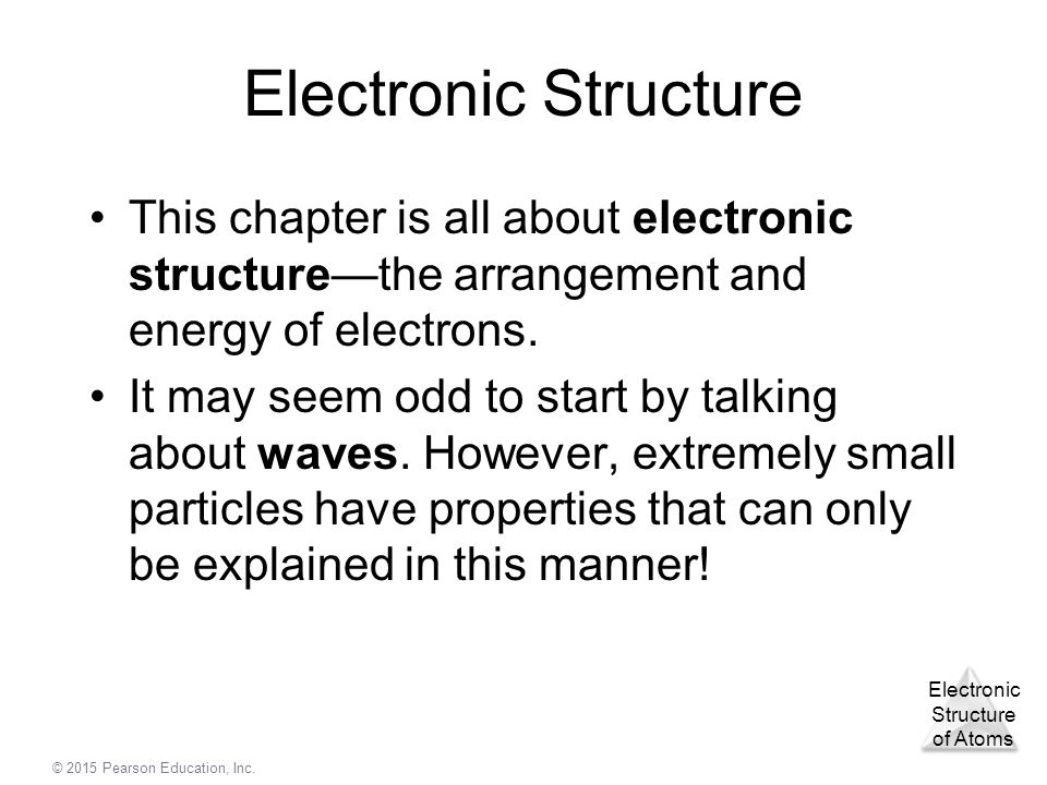 Electronic Structure of Atoms © 2015 Pearson Education, Inc ...