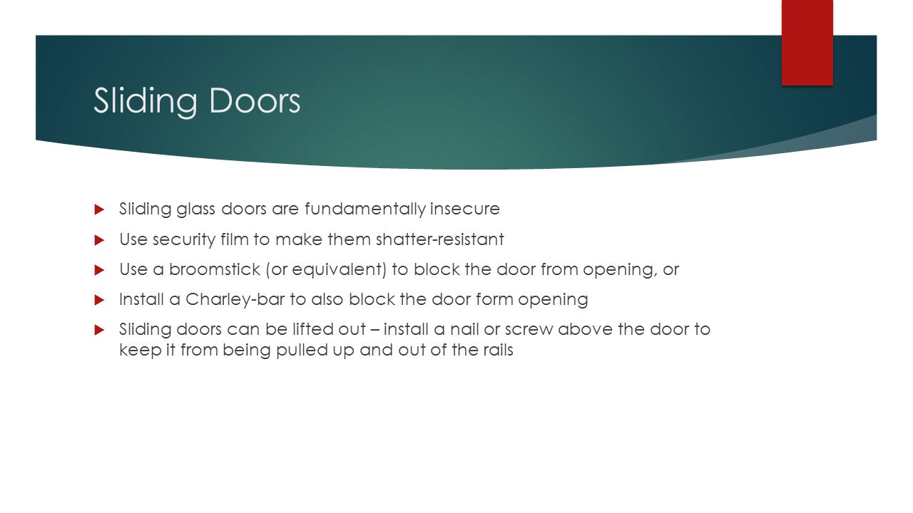 11 Sliding Doors ...  sc 1 st  SlidePlayer & Home Security A HOMEOWNERS CHECKLIST. Your Objective and the ... pezcame.com