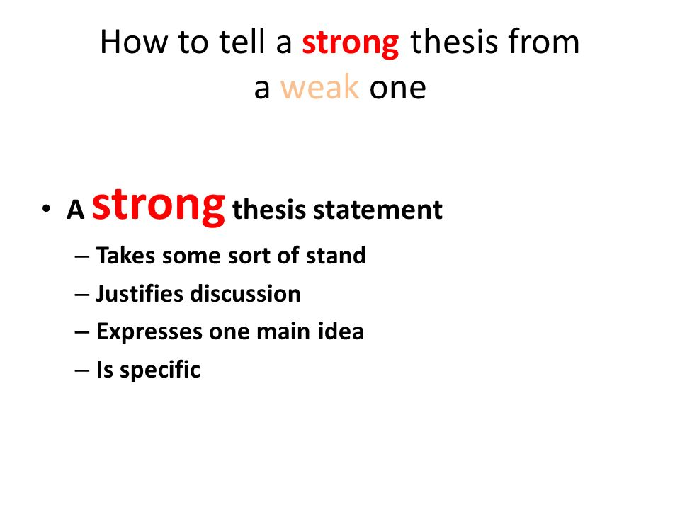 rules for a strong thesis statement