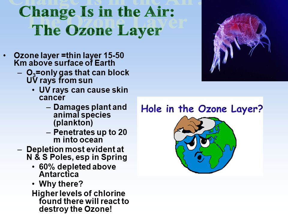Ozone layer =thin layer 15-50 Km above surface of Earth –O 3 =only gas that can block UV rays from sun UV rays can cause skin cancer –Damages plant and animal species (plankton) –Penetrates up to 20 m into ocean –Depletion most evident at N & S Poles, esp in Spring 60% depleted above Antarctica Why there.