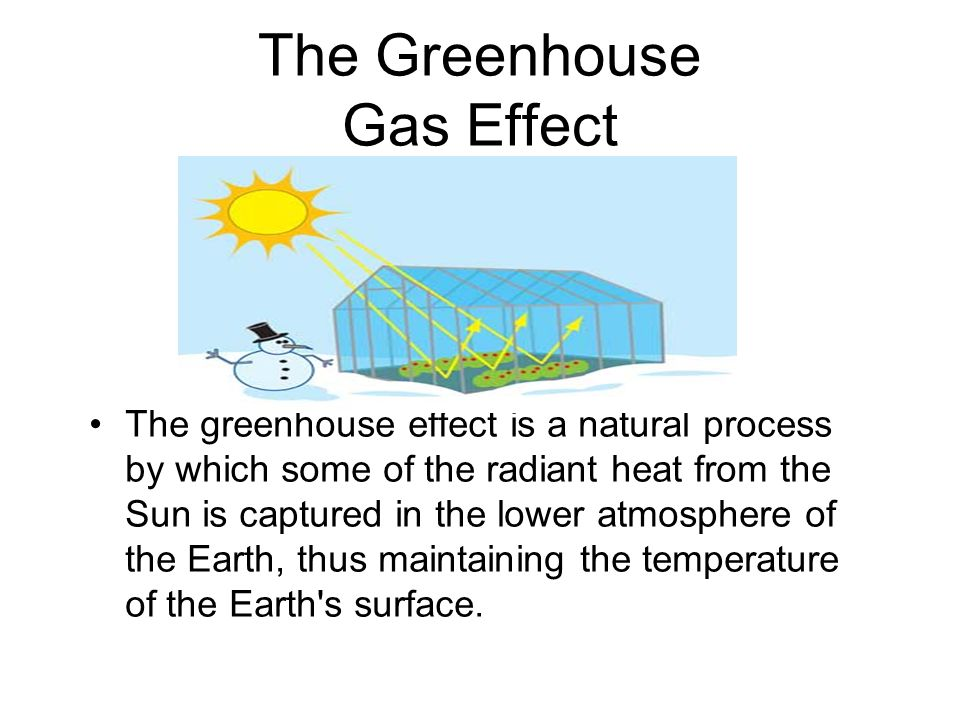 The Greenhouse Gas Effect The greenhouse effect is a natural process by which some of the radiant heat from the Sun is captured in the lower atmosphere of the Earth, thus maintaining the temperature of the Earth s surface.