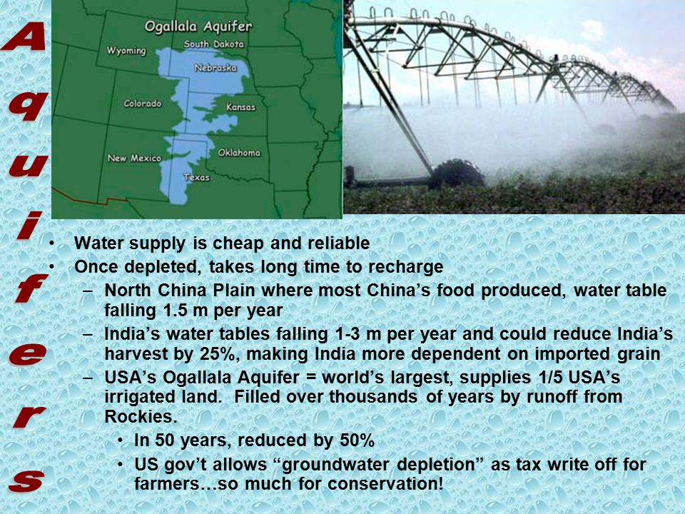 Water supply is cheap and reliable Once depleted, takes long time to recharge –North China Plain where most China's food produced, water table falling 1.5 m per year –India's water tables falling 1-3 m per year and could reduce India's harvest by 25%, making India more dependent on imported grain –USA's Ogallala Aquifer = world's largest, supplies 1/5 USA's irrigated land.