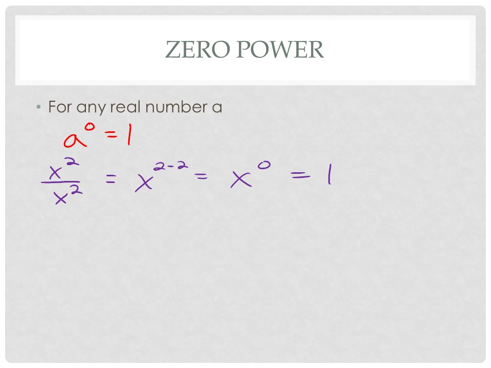 ZERO POWER For any real number a