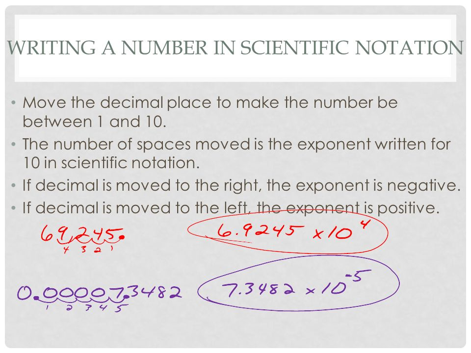 WRITING A NUMBER IN SCIENTIFIC NOTATION Move the decimal place to make the number be between 1 and 10.