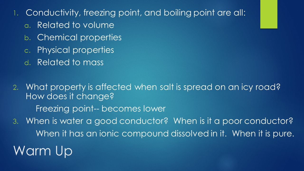 does salt affect the freezing point Can you also answer these questions as well how does slat affect the freezing point of water how does sugar affect the freezing point of water how does vinegar affect the freezing point of water i need u guys to answer all 3 questions thank-you thank-you because this is for ma science project.