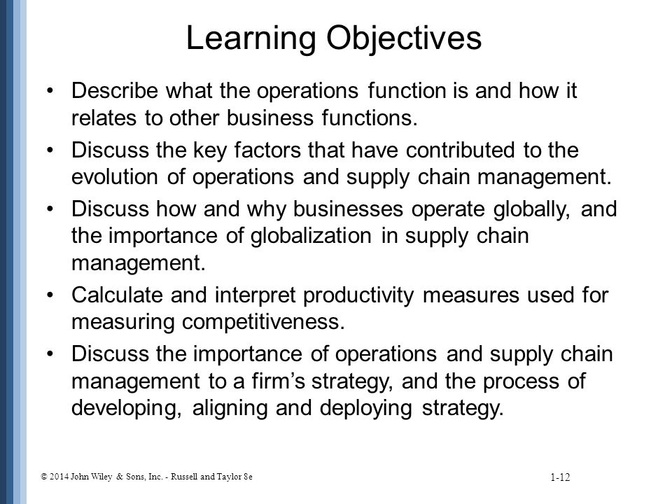Learning Objectives Describe what the operations function is and how it relates to other business functions.