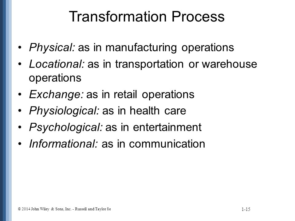 Transformation Process Physical: as in manufacturing operations Locational: as in transportation or warehouse operations Exchange: as in retail operations Physiological: as in health care Psychological: as in entertainment Informational: as in communication 1-15 © 2014 John Wiley & Sons, Inc.