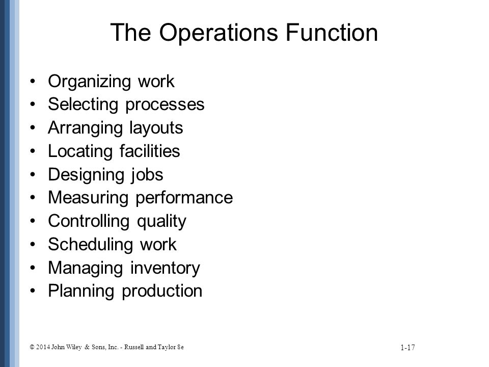The Operations Function Organizing work Selecting processes Arranging layouts Locating facilities Designing jobs Measuring performance Controlling quality Scheduling work Managing inventory Planning production 1-17 © 2014 John Wiley & Sons, Inc.