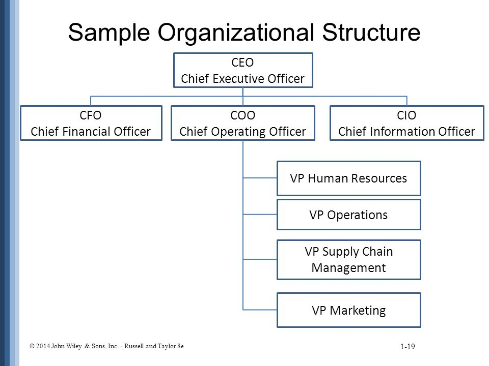 Sample Organizational Structure 1-19 © 2014 John Wiley & Sons, Inc.