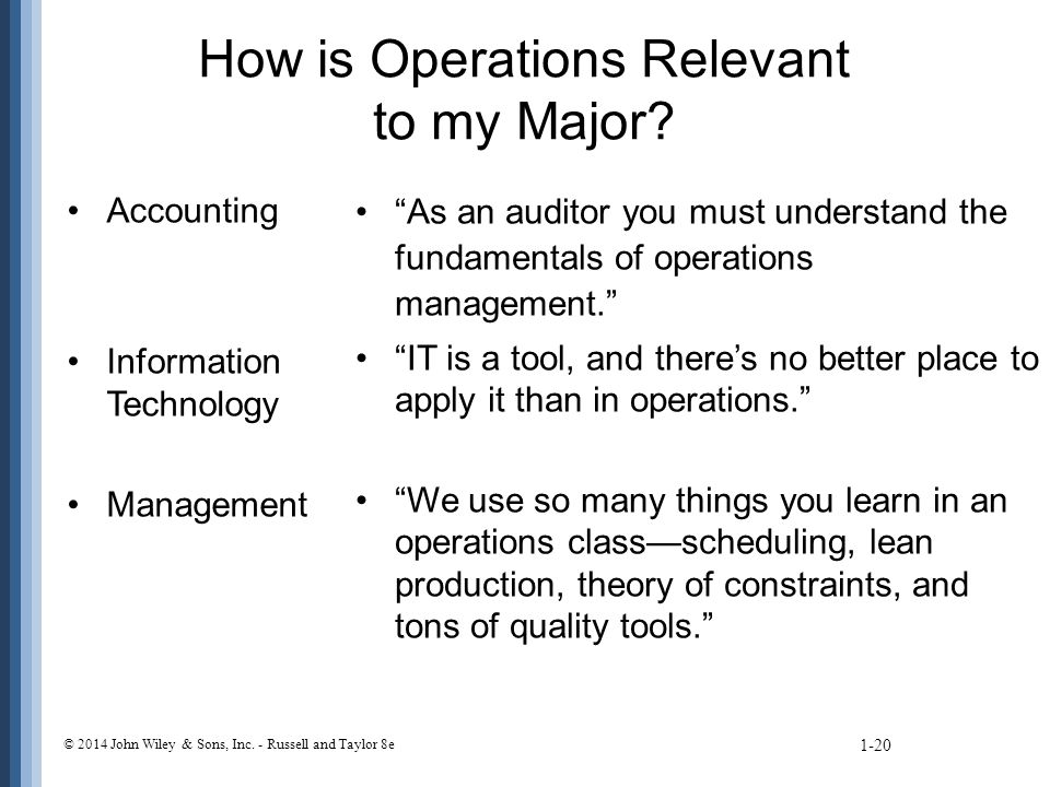How is Operations Relevant to my Major.