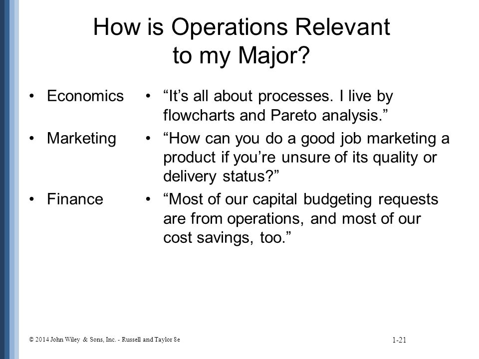 How is Operations Relevant to my Major. Economics Marketing Finance It's all about processes.