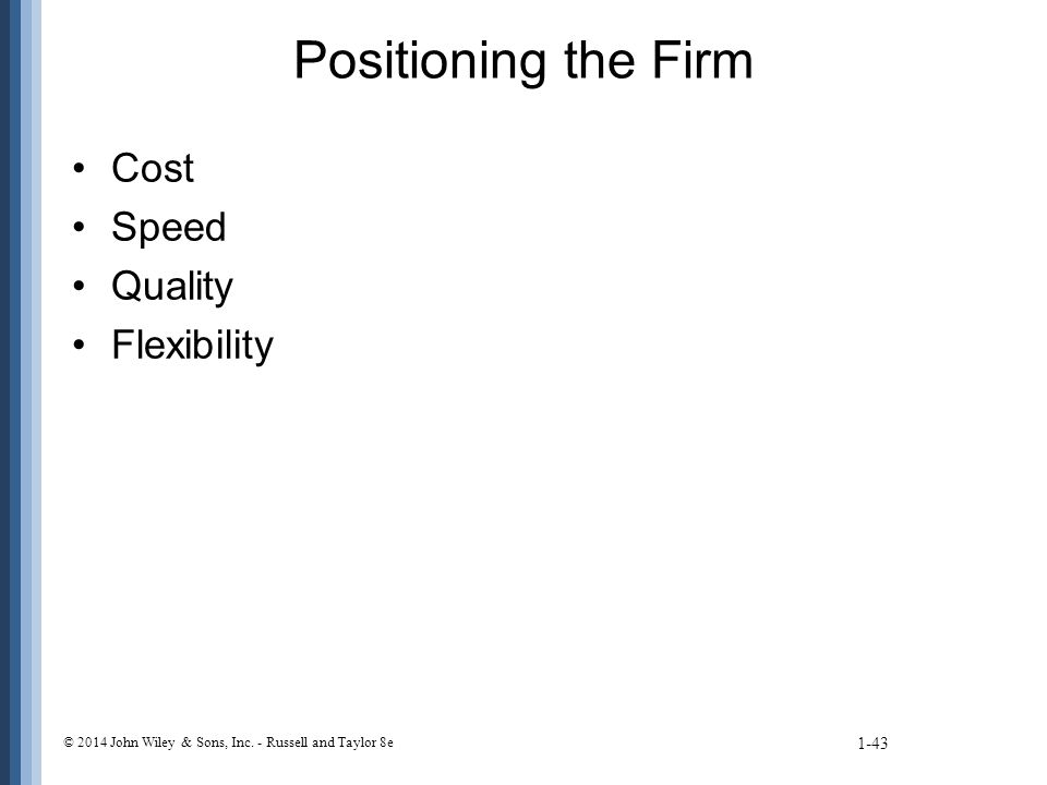 Positioning the Firm Cost Speed Quality Flexibility 1-43 © 2014 John Wiley & Sons, Inc.