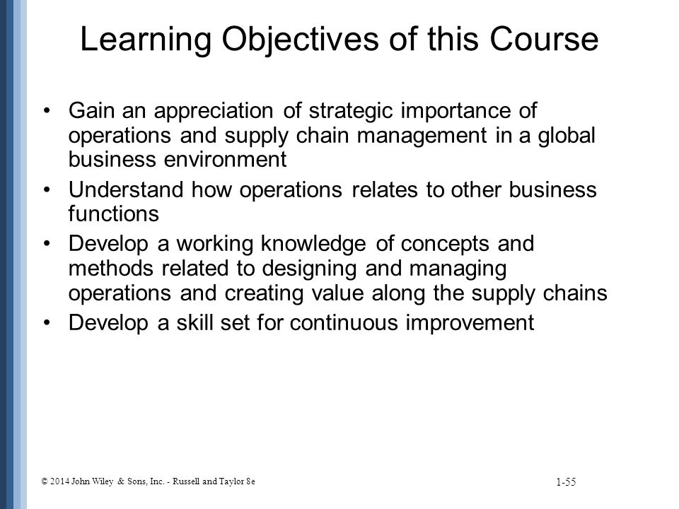 Learning Objectives of this Course Gain an appreciation of strategic importance of operations and supply chain management in a global business environment Understand how operations relates to other business functions Develop a working knowledge of concepts and methods related to designing and managing operations and creating value along the supply chains Develop a skill set for continuous improvement 1-55 © 2014 John Wiley & Sons, Inc.
