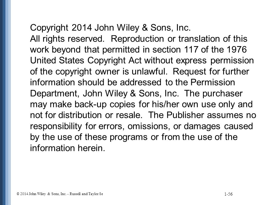 1-56 Copyright 2014 John Wiley & Sons, Inc. All rights reserved.