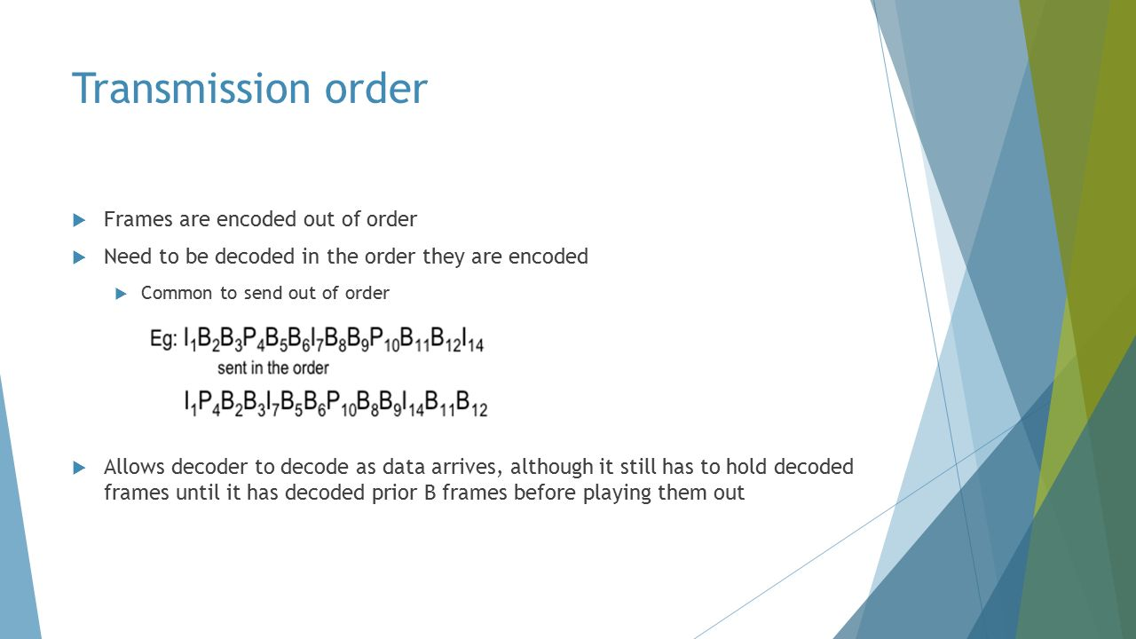 Transmission order  Frames are encoded out of order  Need to be decoded in the order they are encoded  Common to send out of order  Allows decoder to decode as data arrives, although it still has to hold decoded frames until it has decoded prior B frames before playing them out
