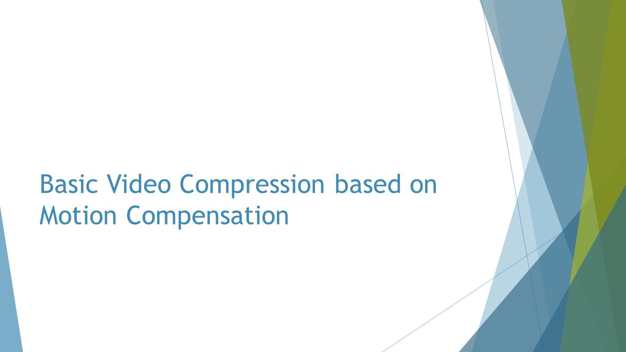 Basic Video Compression based on Motion Compensation