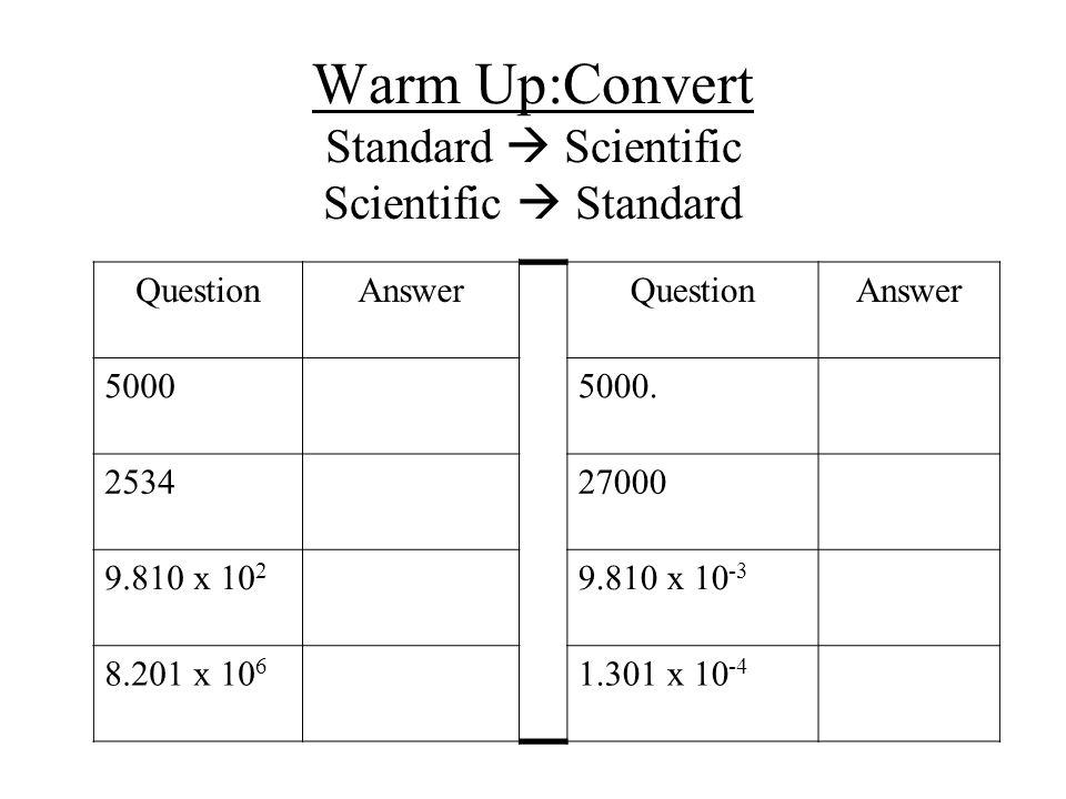 Scientific Notation Model Sheet Scientific Notation Practice Homework