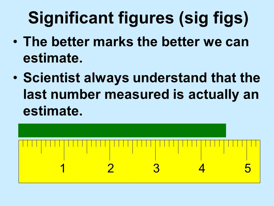 Significant figures (sig figs) How many numbers mean anything.