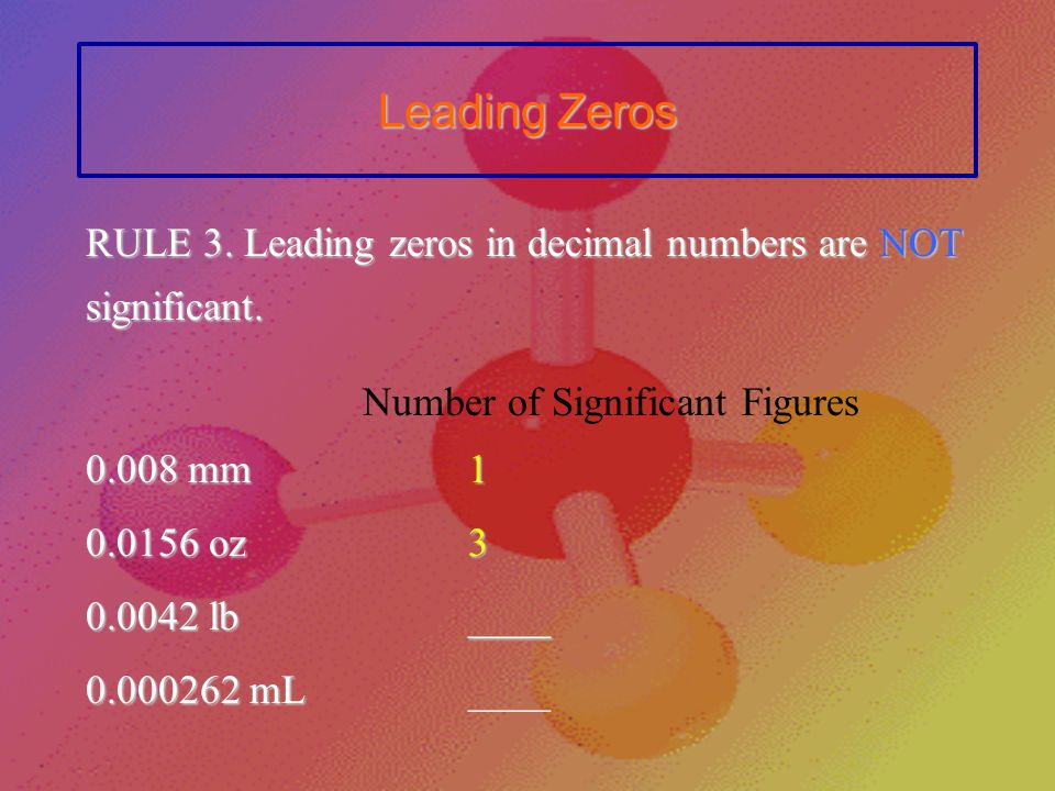 Sandwiched Zeros RULE 2. Zeros between nonzero numbers are significant.