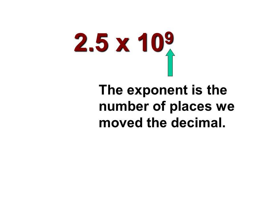 2 500 000 000 Step #1: Insert an understood decimal point.