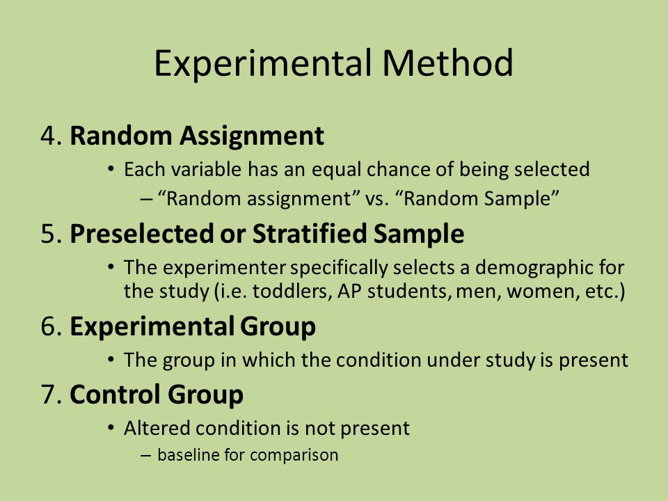 Random assignment methods