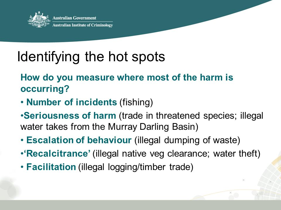 Identifying the hot spots How do you measure where most of the harm is occurring.