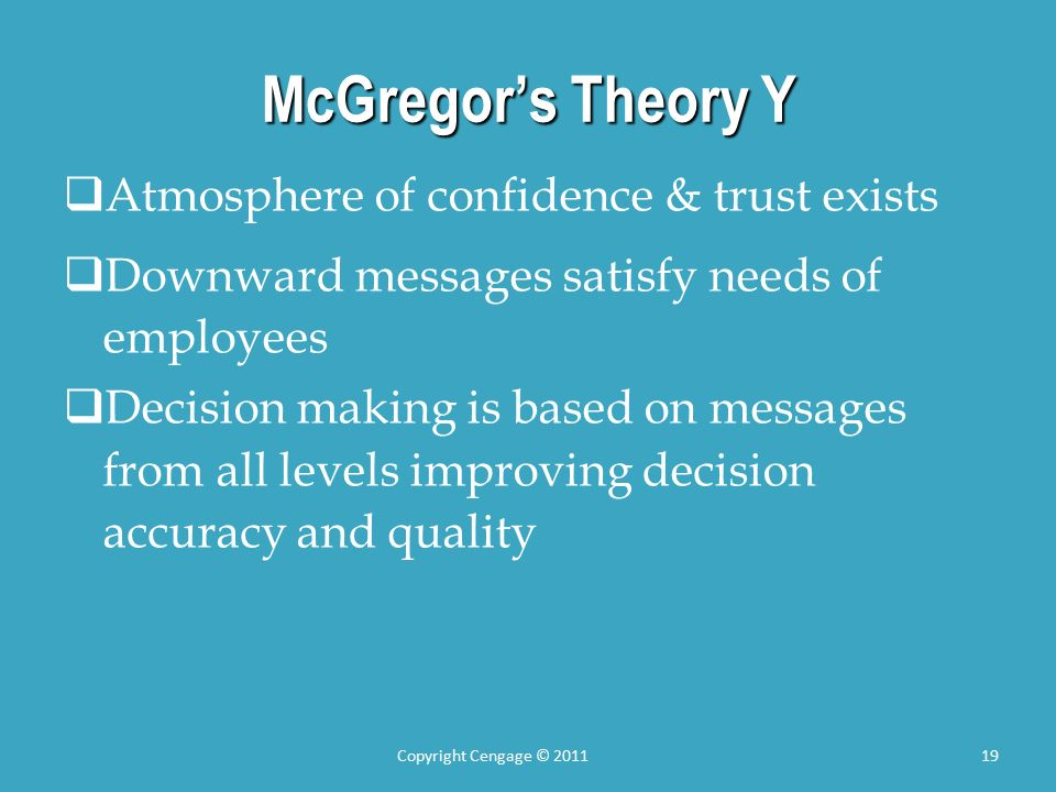 McGregor's Theory Y  Atmosphere of confidence & trust exists  Downward messages satisfy needs of employees  Decision making is based on messages from all levels improving decision accuracy and quality Copyright Cengage © 201119