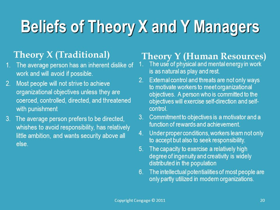 Beliefs of Theory X and Y Managers Theory X (Traditional) 1.The average person has an inherent dislike of work and will avoid if possible.