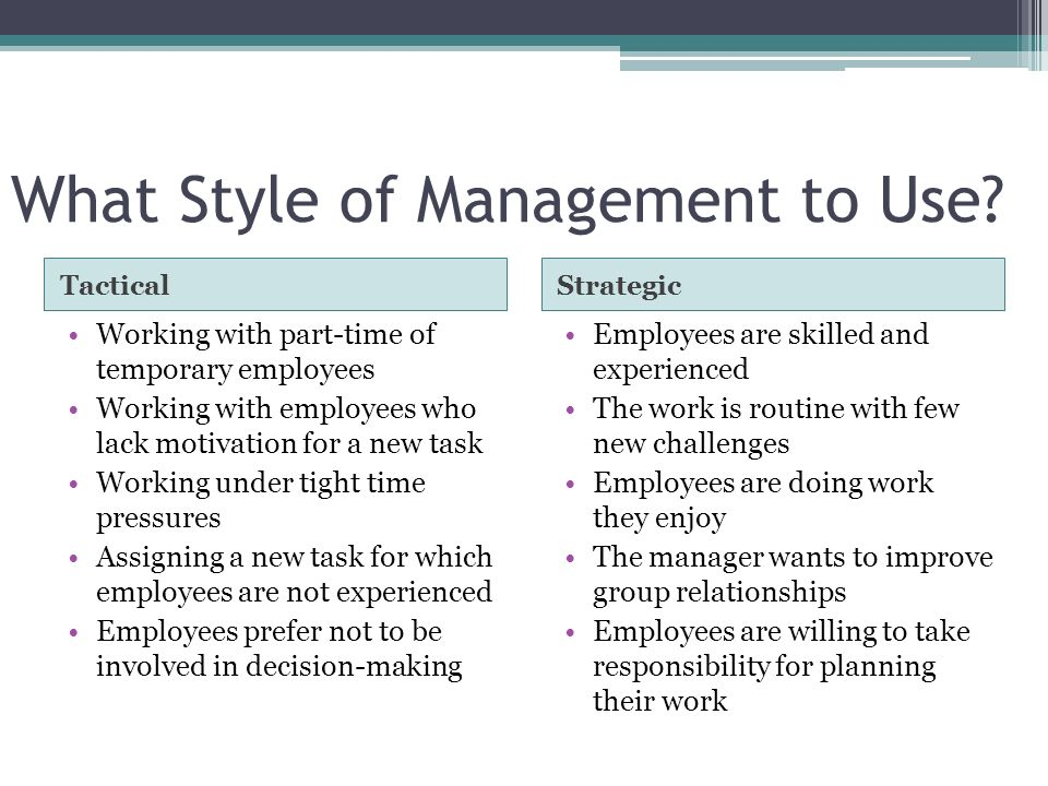 What Style of Management to Use.