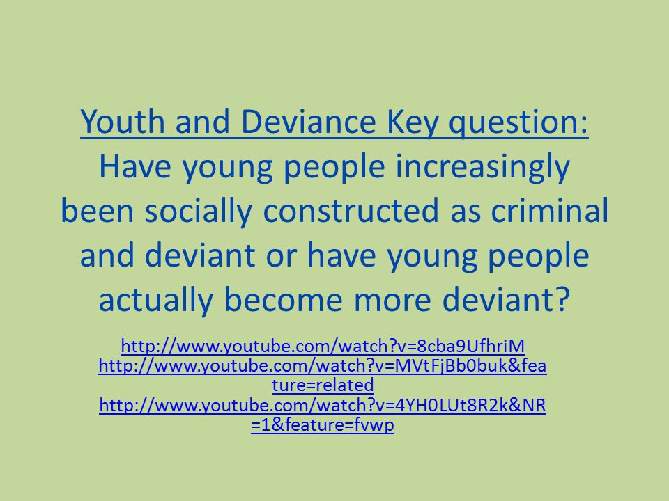 participation of juveniles in deviant behavior essay Deviant behavior is behavior that violates the normative rules, understandings, or expectations of social systems this is the most common usage of the term and the sense in which it will be used here crime is the prototype of deviance in this sense, and theory and research in deviant behavior.